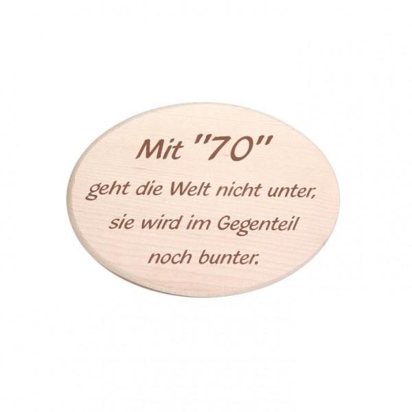 """Spruchbrett """"mit 70"""""""