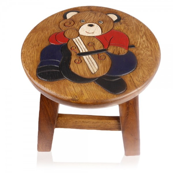 "Hocker ""Teddybär mit Cello"""